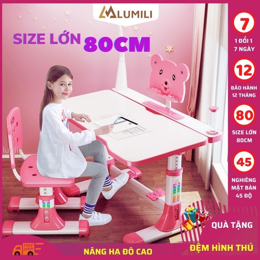 [Size 80cm +tặng đệm ghế ] bộ bàn học chống gù chống cận thông minh cho trẻ em A8 tăng chỉnh độ cao