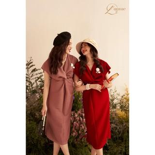 Váy bầu đẹp Carol Dress chất liệu nhung mềm dập ly cao cấp được thiết kế bởi LAMME thumbnail