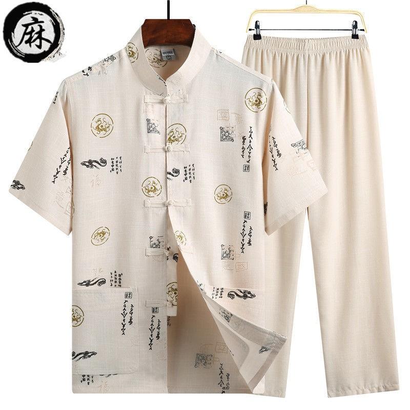 Bộ trang phục kiểu thời nhà Đường tay ngắn bằng cotton linen cho người lớn tuổi