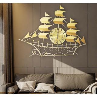 Đồng hồ trang trí hình thuyền buồm cao cấp