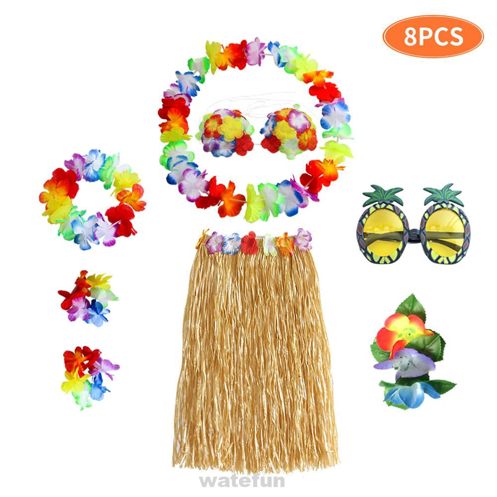 Barbecue Beach Costume Party Festival Flower Garden Glasses Hawaiian Skirt Hair Clip Tropical Hula Dance Set