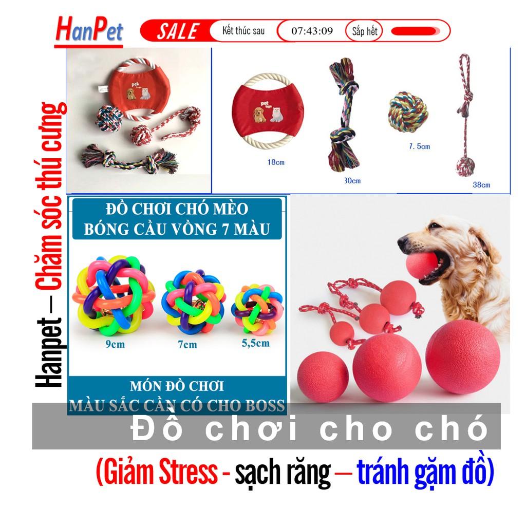 HN - Các loại đồ chơi chó  Bóng tết thừng bóng 7 sắc  đồ chơi chó mèo dạng banh cho chó tập cắn