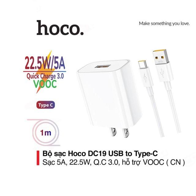 Bộ sạc nhanh 5A/22.5W Hoco DC19 chuôi dẹt kèm dây sạc Type-C dài 1M, QC3.0 , sạc VOOC cho Android