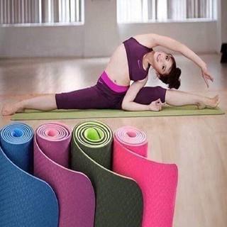 Thảm tập Yoga 2 lớp TPE dày 6mm, thảm tập Gym chống trơn trượt và không thấm mồ hôi thumbnail