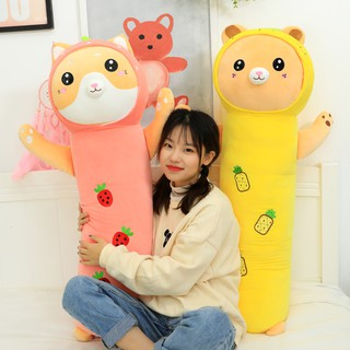 Cute fruit bear plush toy pillow long strip pillow holding to sleep with you doll bed doll doll girl