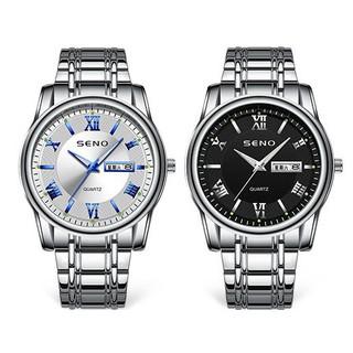 Đồng hồ nam Seno chống xước, đồng hồ chống nước dây kim loại trắng seno DH9102 - senowatch709