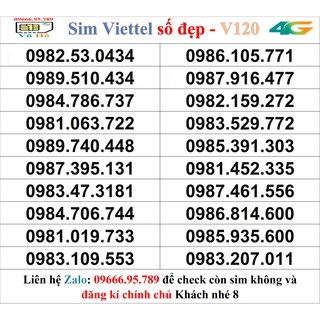 Sim Viettel V120 đầu 09 số đẹp giá rẻ 8