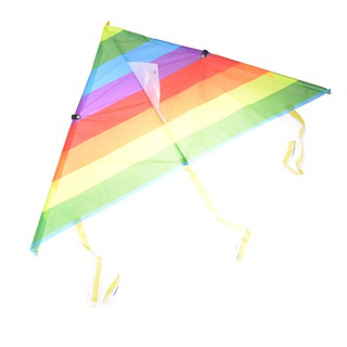 NBY❤❤Rainbow Triangle Nylon Outdoor Sports Flying Kite Kite Line String