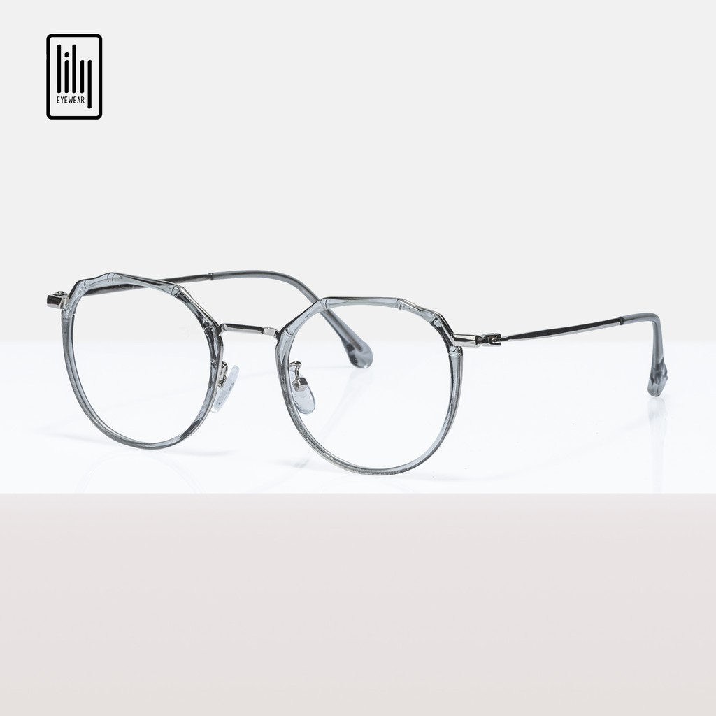 Gọng kính cận nam nữ Lilyeyewear mắt đa giác , thiết kế đặc biệt , mắt nhựa phối gọng kim loại , nhiêu màu - 8854