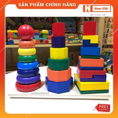 Xếp chồng tháp 3 cọc đồ chơi gỗ Montessori