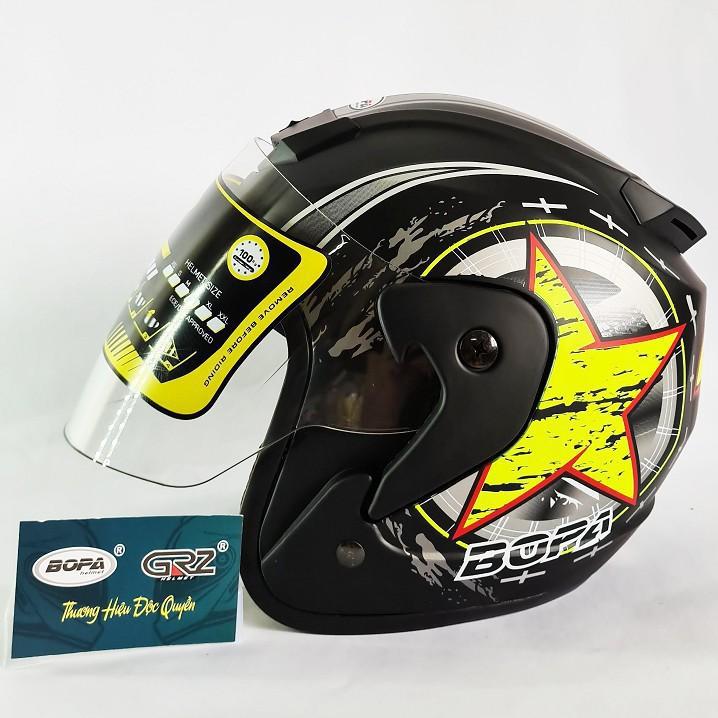 [DEAL HOT] Mũ bảo hiểm BOPA 3/4 Tem ngôi sao phù hợp với dân phượt siêu hot