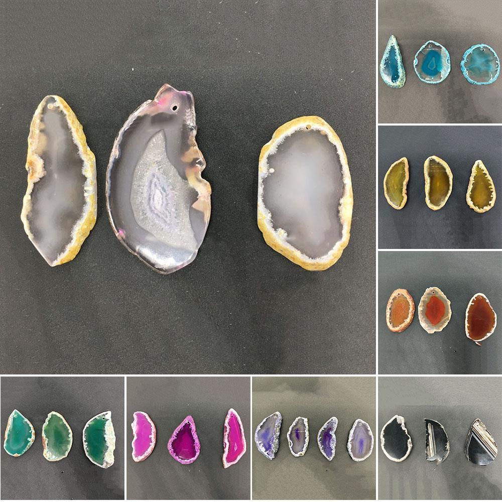 BLM❤Agate Polished Crystal Slice Irregular Brazil Healing Reiki Stone Pendant Gift