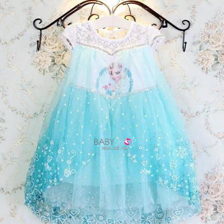 Váy Elsa Công Chúa Màu Xanh. Đầm Elsa Cho Bé Hàng Quảng Châu. Váy Đầm Công Chúa