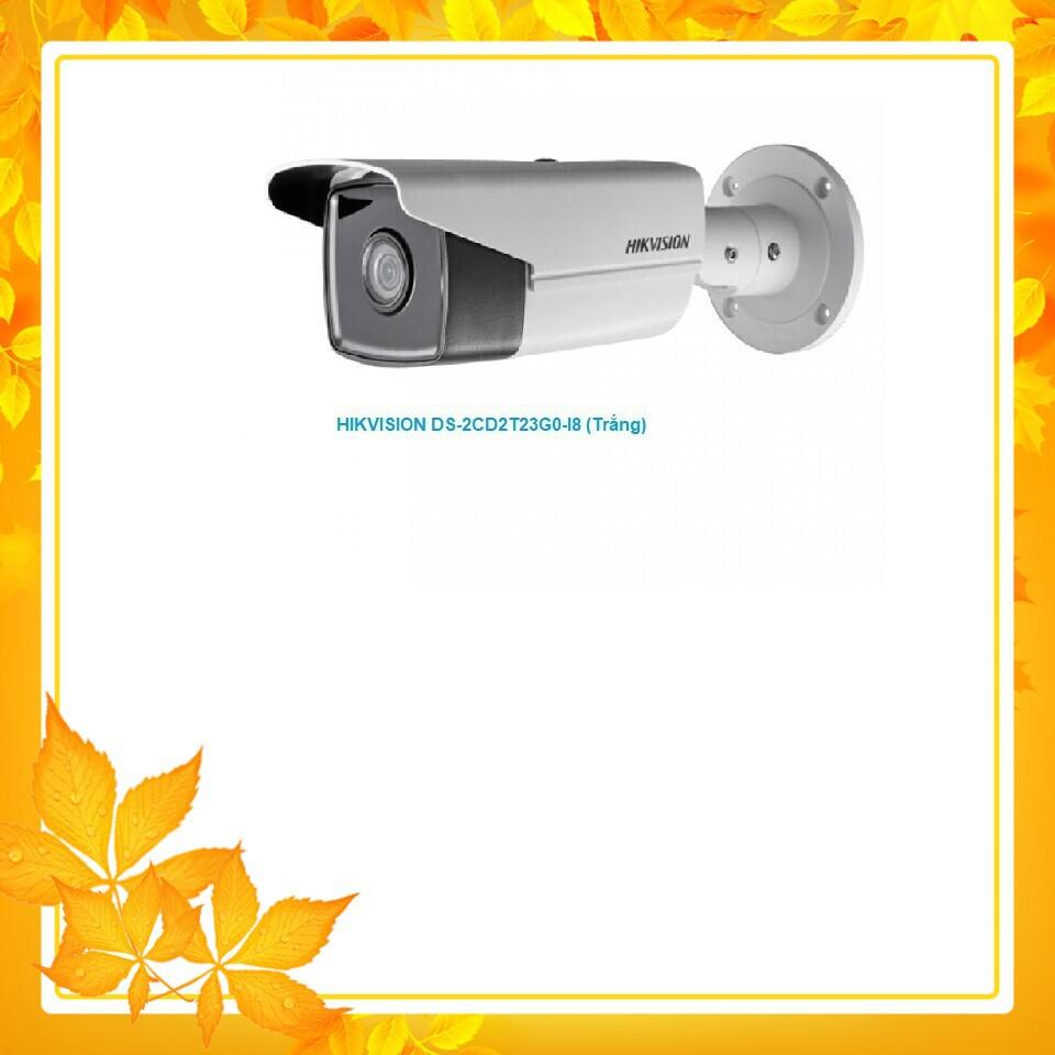 (RẺ VÔ ĐỐI) Camera IP Trụ hồng ngoại 2MP chuẩn nén H.265+_ HIKVISION DS-2CD2T23G0-I8 (Trắng)