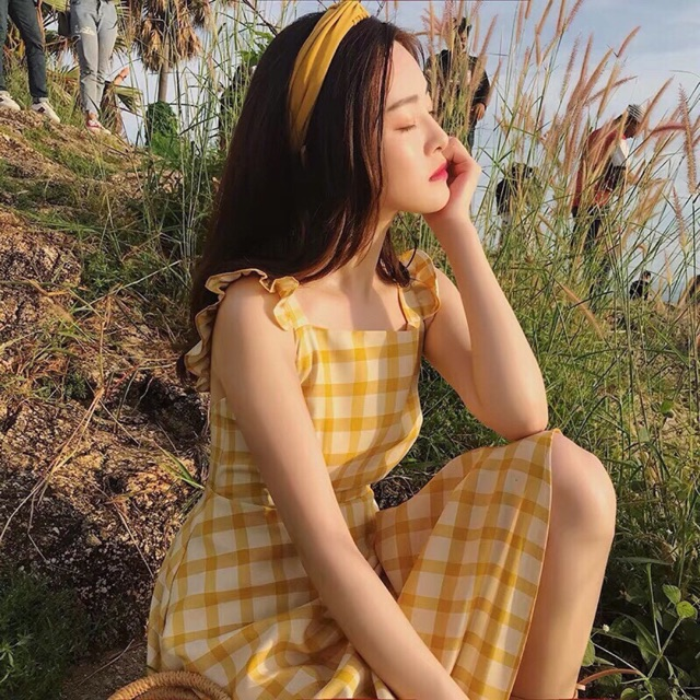 Đầm caro vàng (ảnh thật phía cuối)