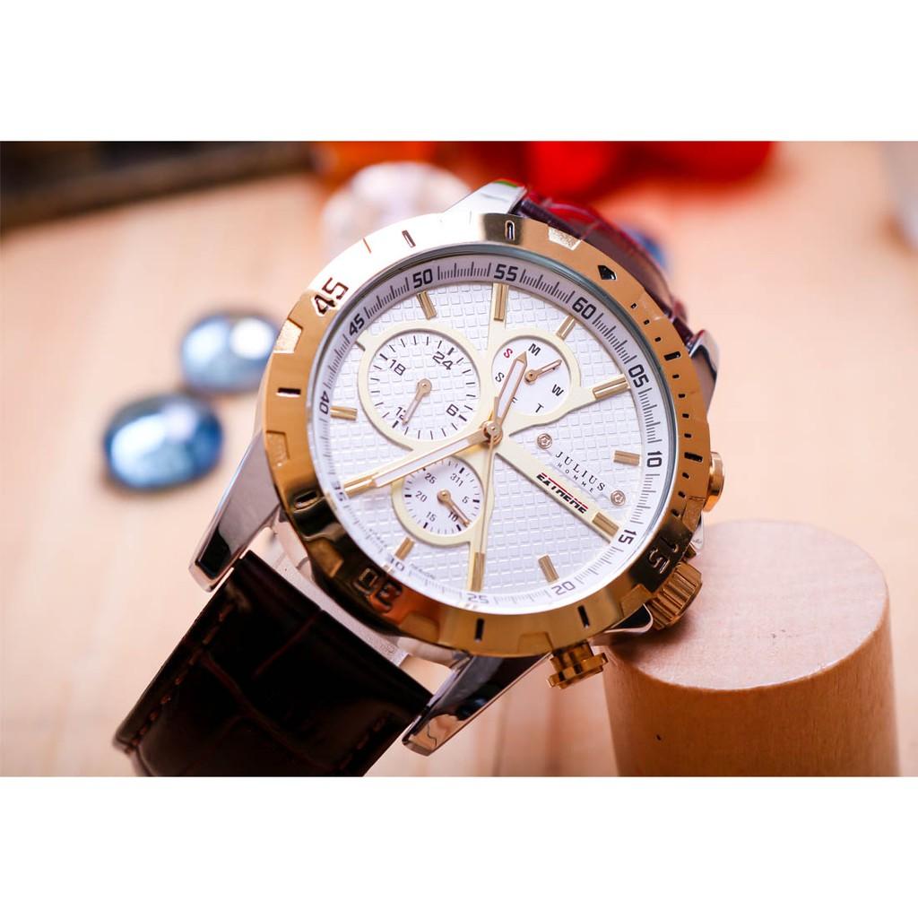 Đồng hồ nam JAH-056C Julius Home Hàn Quốc dây da (Vàng)
