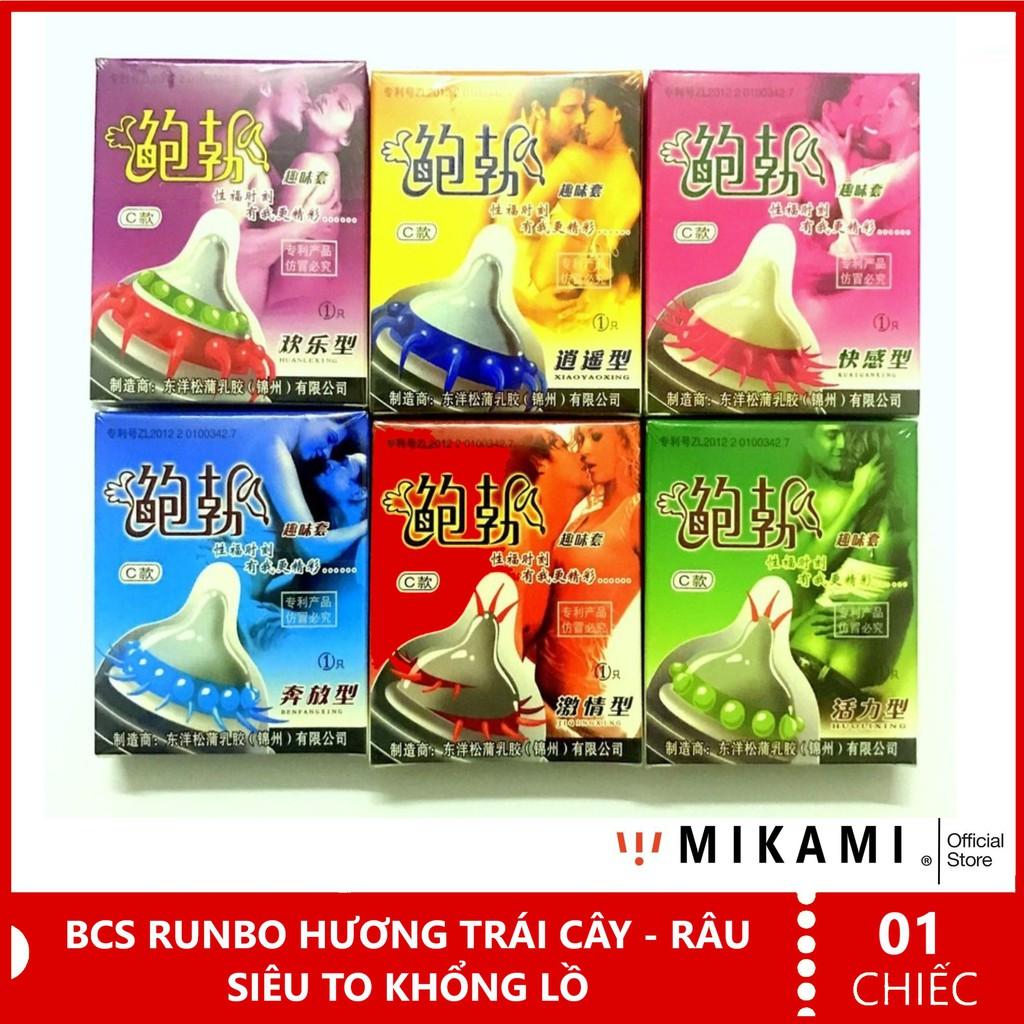 Bao Cao Su Gân Gai Bi Râu Siêu To Khổng Lồ - Hương Trái Cây Runbo cao cấp