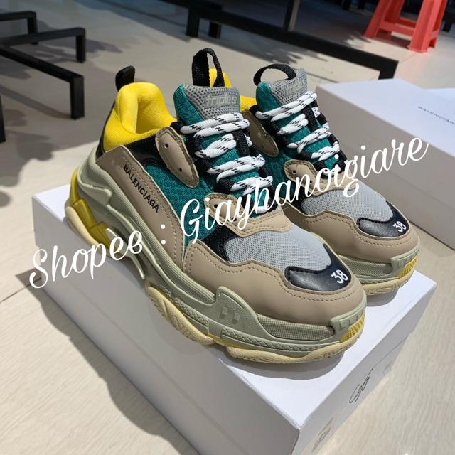 | Ảnh Thật | Giày Balen Triple S Vàng Xanh Nam Nữ