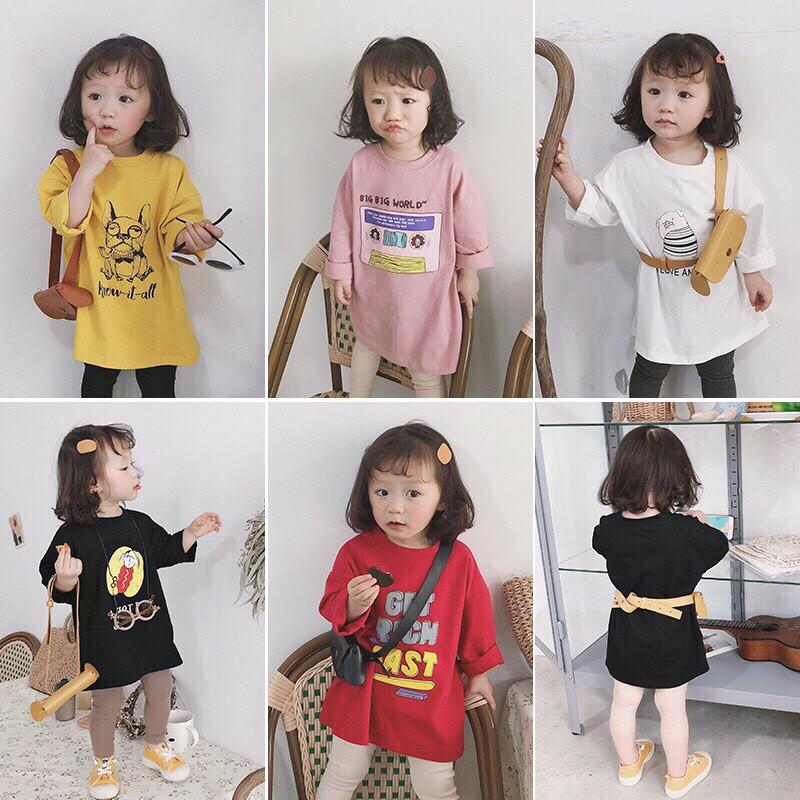 Áo váy in hình phong cách Hàn quốc QATE341 cho bé gái
