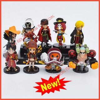 Mô Hình 9 Nhân Vật One Piece Team Luffy ( Cả 9 Con ) Tặng Móc Khóa Siêu Anh Hùng Cực Đẹp
