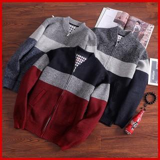 [Chất đẹp] 💖 Áo khoác len nam cardigan sọc ngang lót nỉ, kiểu dáng bomber Hàn Quốc