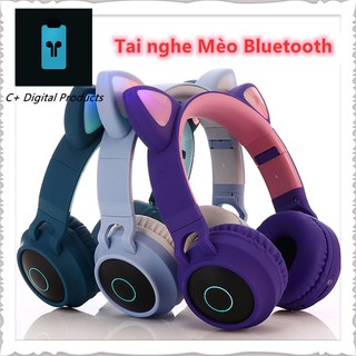Tai Nghe Mèo Bluetooth, Headphone Tai Mèo Dễ Thương Có Mic,Âm Bass Mạnh Mẽ Và Dung Lượng Pin Khủng 400mAh