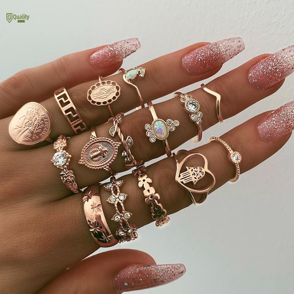 Set 15 chiếc nhẫn hợp kim đính đá thời trang cho nữ