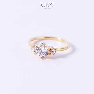 Nhẫn bạc nữ cao cấp mạ vàng đính ba viên đá phối hợp Gix Jewel SPGN47 thumbnail