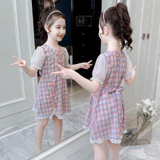 Đầm Tay Phồng Họa Tiết Ca Rô Đáng Yêu Cho Bé Gái