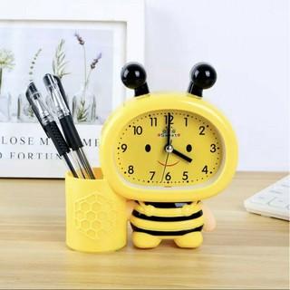 Đồng hồ để bàn con ong kèm ống cắm bút xinh xinh