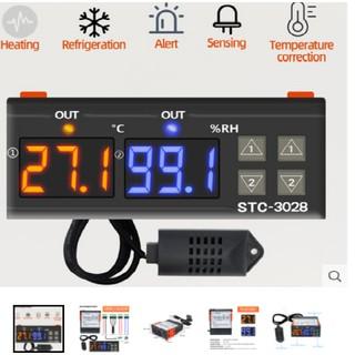 Bộ điều khiển nhiệt độ và độ ẩm AC110-220V/12v10A màn hình hiển thị LED kép STC-3028(sẵn hàng gửi ngay)