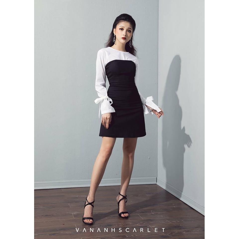 Đầm body công sở phối tay trắng thanh lịch