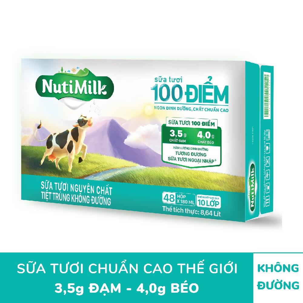 Thùng 48 hộp NutiMilk ST 100 điểm – ST nguyên chất tiệt trùng Hộp 110 ml/hộp