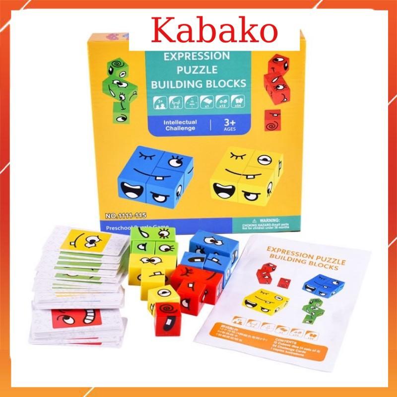 Ghép hình biểu cảm khuôn mặt đồ chơi gỗ xếp hình biểu cảm khuôn mặt vui nhộn hộp giấy KABAKO KBK022