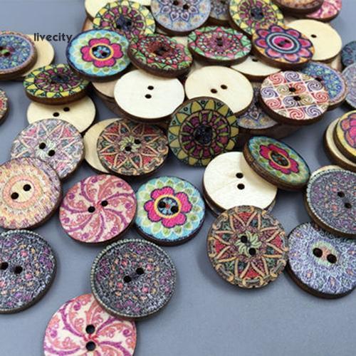 100 khuy gỗ in hình hoa phong cách cổ điển , nhiều màu , kích thước 20mm