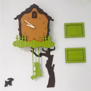 [ Sale up to 50%] Đồng hồ treo tường, đồng hồ treo tường im lặng cậu bé xích đu bằng gỗ P00000EG