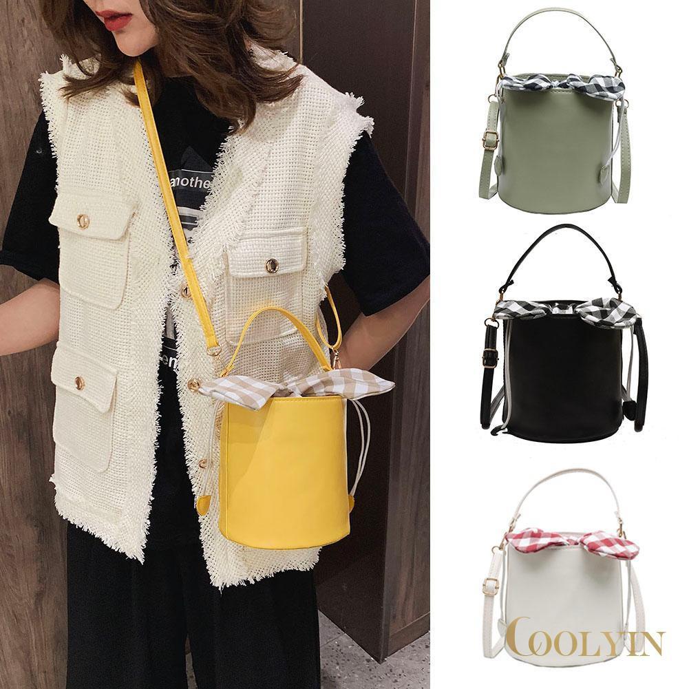 🍑Plaid Bowknot PU Leather Women Crossbody Bucket Bags