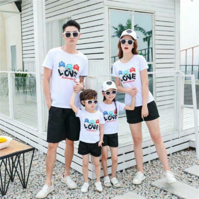 Áo thun cotton gia đình in họa tiết cực yêu