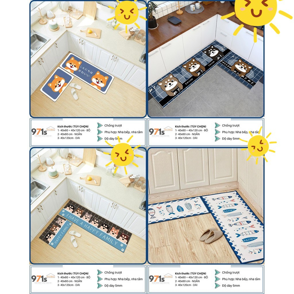 Thảm bếp 3D trang trí nhà bếp phòng ngủ (40*60 + 40*120 cm) cao cấp cao su chống trượt 88201 Gia Dụng Gia Đình