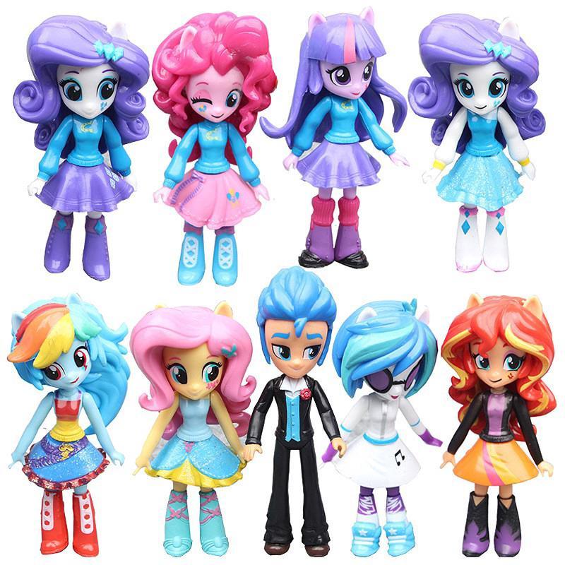 My Little Pony Equestria Girls New Set 9PCS Figures 12cm Monster High Dolls Toy