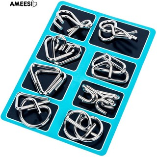 Ame 8Pcs/Set Metal Wire IQ Mind Brain Teaser Educational Game Toy for Adult Kids