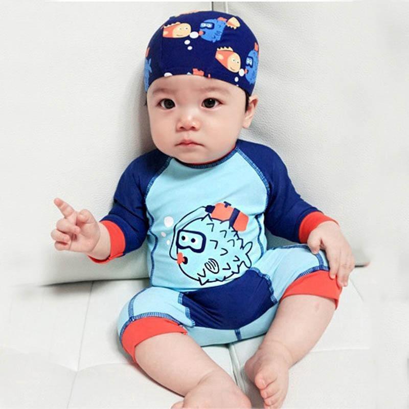 [Mã FASHIONRNK giảm 10K đơn 50K] Bộ đồ bơi liền thân + nón bơi đáng yêu dành cho bé trai thumbnail