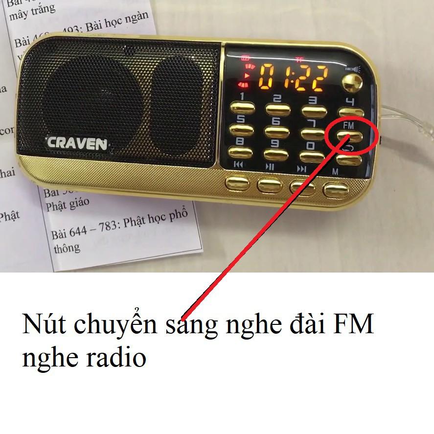 [Hàng Tốt] Máy nghe nhạc mini Craven CR 836S/853 3 pin nghe kinh-nghe đài FM dùng thẻ nhớ pin siêu trâu- Bh 6 tháng