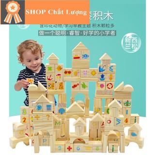 Đồ chơi gỗ xếp hình khối bằng gỗ 80 chi tiết_Đồ chơi gỗ_TalentKids