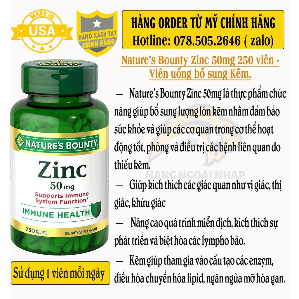 Nature's Bounty Zinc 50mg 250v - Date 2025