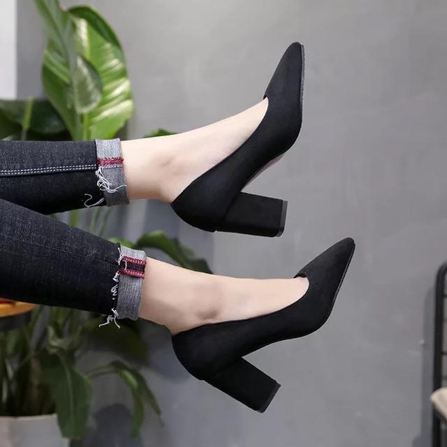 (ORDER) Giày cao gót da lộn gót vuông BIG SIZE 33-43