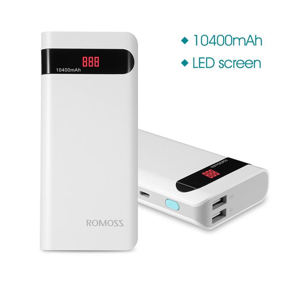 (giá rẻ bất ngờ) (CÓ LED - 2 USB) SẠC DỰ PHÒNG ROMOSS SENSE 4P 10.400MAH (quá rẻ )
