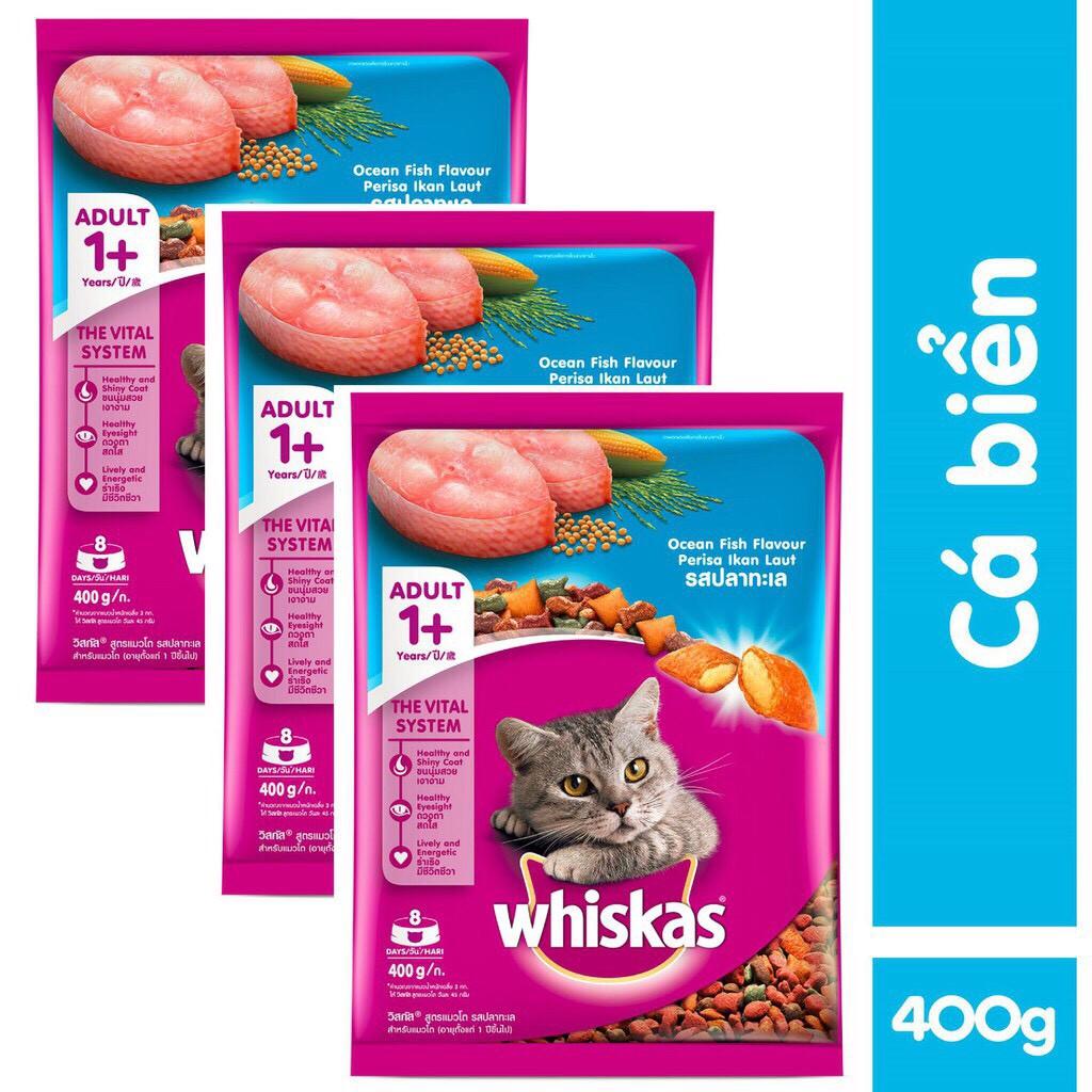 [Mã 267FMCGSALE giảm 8% đơn 500K] Thức ăn cho mèo hạt Whiskas 400gr