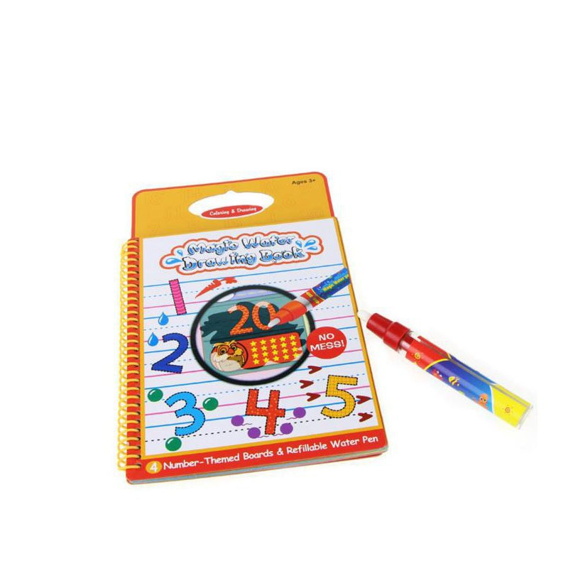 Number Theme Design Magic Water Writing Drawing Books with Water Pen for Kids