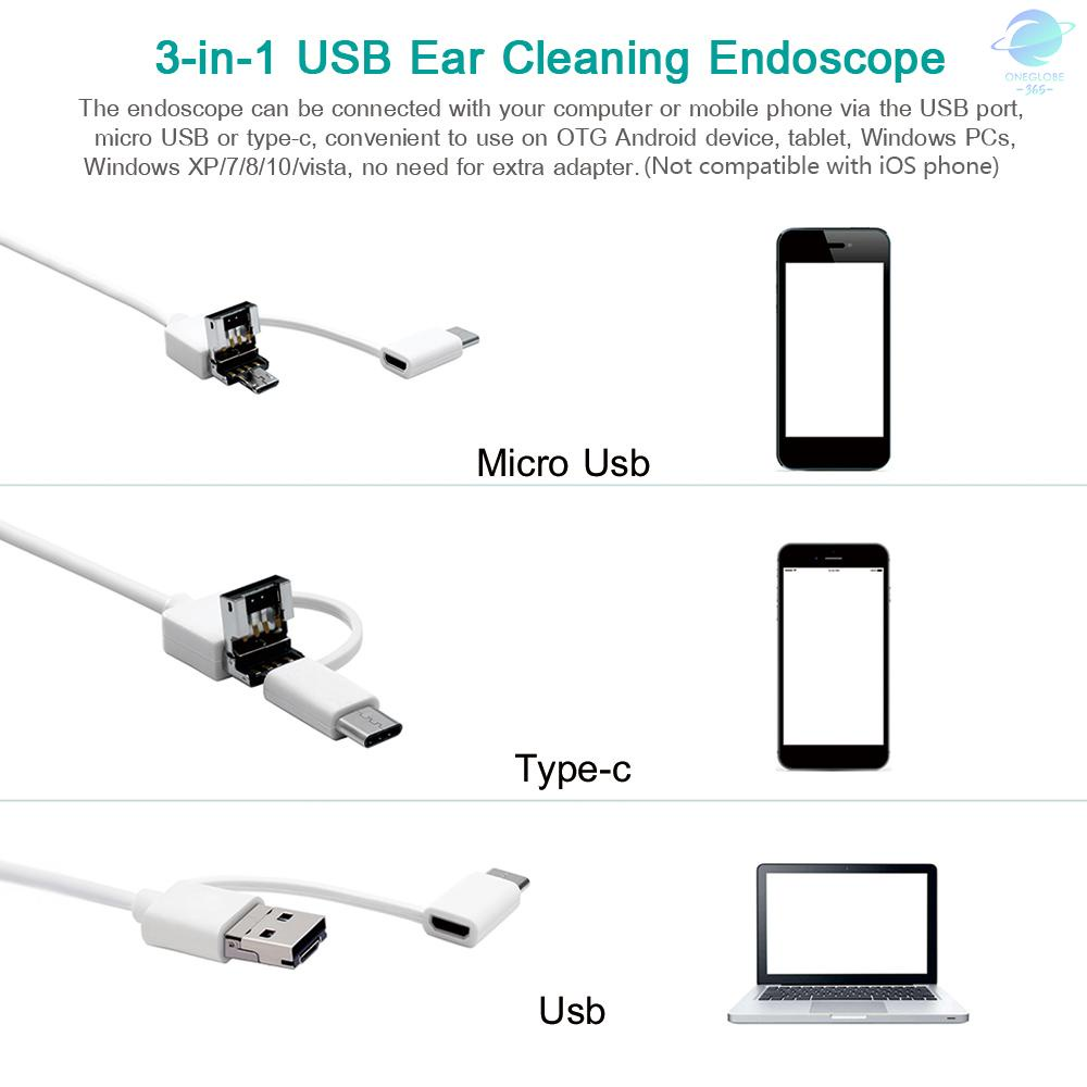 O&G 3-in-1 USB Ear Cleaning Earpick Endoscope LED Light Multifunctional Borescope Inspection Camera 0.3MP Visual Ear Spoon Health Care Cleaning...